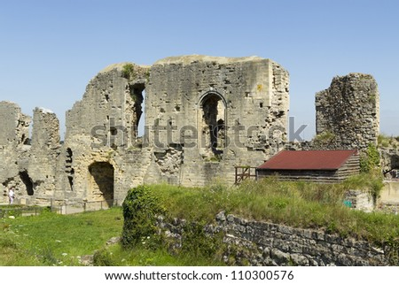 VALKENBURG - AUGUST 10: The well-known castle ruins of Valkenburg are all that remain of a centuries old castle in the center of Valkenburg, a tourist spot in the Netherlands, on August 10, 2012. - stock photo