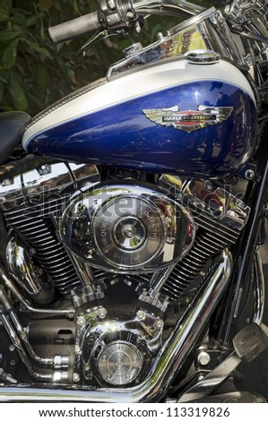 VALLADOLID, SPAIN - SEPTEMBER 2, 2012: Close-up of Harley Davidson motorcycle engine at a meeting of vintage cars in Valladolid, Spain on September 2, 2012 - stock photo