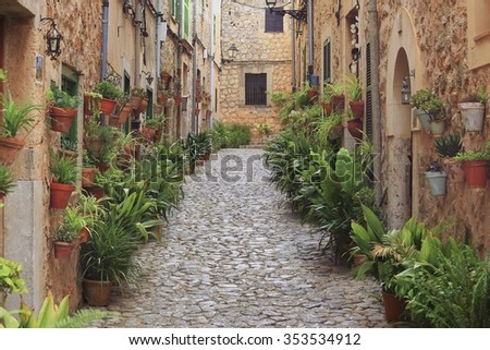 Valldemossa typical village with plants pots in facades at Mallorca island, Spain
