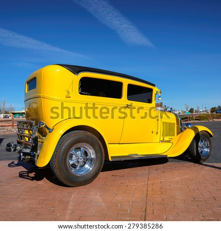 VALLE, AZ - MARCH 26, 2015 - Yellow excellent old car in Valle, Arizona, March 26, 2015 - stock photo