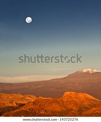 Valle de la Luna (Valley of the Moon) west of San Pedro de Atacama, Chile in the Cordillera de la Sal, in the Atacama desert of Chile - stock photo