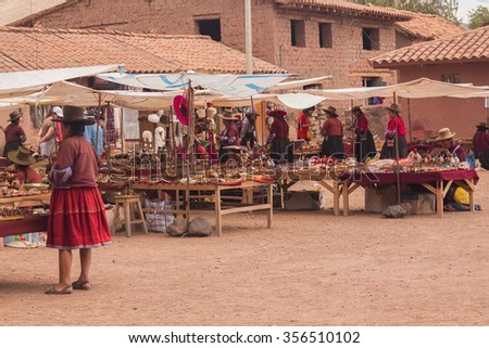 VALLE SAGRADO, PERU - CIRCA OCTOBER, 2013: Traditional handicraft market in Sacred Valley, Peru. - stock photo