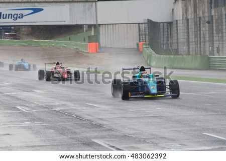 Vallelunga, Rome, Italy. September 10th 2016. Formula 4 Championship,  Cars racing on straight line  under the rain