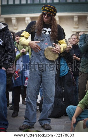 VALLETTA, MALTA - DEC 17 - Ethnic musicians during a rally held by Facebook group Legalize It Malta, in favour of the decriminalisation and legalisation of cannabis and hemp, on 17 December 2011