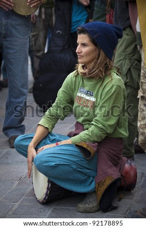 VALLETTA, MALTA - DEC 17 - Ethnic musicians during a rally held by Facebook group Legalize It Malta, in favour of the decriminalisation and legalisation of cannabis and hemp, on 17 December 2011 - stock photo