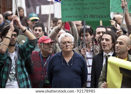 VALLETTA, MALTA - DEC 17 - TV presenter Peppi Azzopardi during a rally in favour of the decriminalisation and legalisation of cannabis and hemp, on 17 December 2011 - stock photo