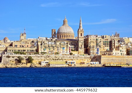 VALLETTA, MALTA - JUNE 13 2016: City of Valletta preserves much of sixteenth century architectural heritage and one of the most concentrated historic areas in the world.