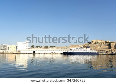 Valletta, Malta - September 10, 2014: view to Valletta harbor. Valletta is a capital and the largest city of Malta.
