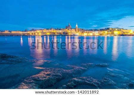 Valletta seafront skyline view as seen from Sliema shoreline, Malta - stock photo