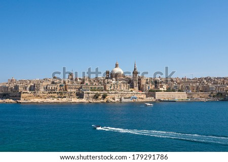 Valletta Skyline in the Evening, Malta - stock photo