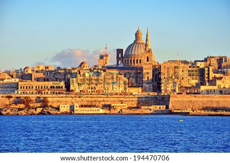 Valletta skyline on sunset, Malta - stock photo