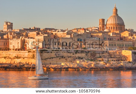 Valletta, the Capital City of Malta in early morning. - stock photo