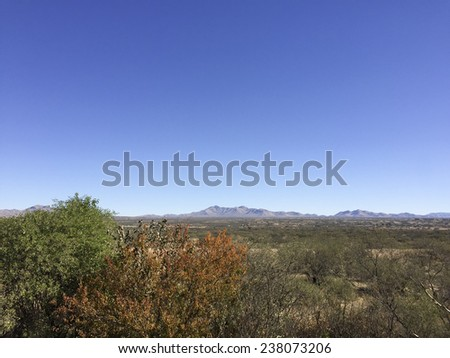 Valley and mountains in city of Benson, Cochise county, Southern Arizona - stock photo