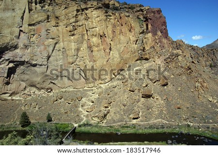 Valley floor of the Crooked River  near Smith Rock State Park, Central Oregon.  - stock photo