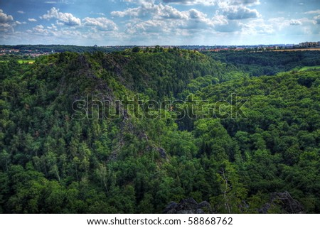 Valley full of trees with sharp rocks in the middle