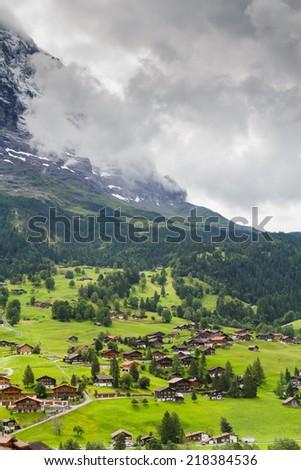 Valley in Grindelwald, Switzerland - stock photo