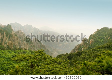 valley in huangshan, china - stock photo