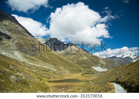 Valley in the Alps with glacier lake and path, Swiss - stock photo
