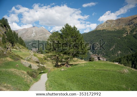 Valley in the Alps with  path, Swiss - stock photo