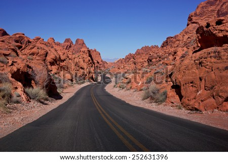 Valley of Fire Dedicated in 1935, Valley of Fire is Nevada's oldest state park. It is located only 50 miles northeast of Las Vegas. T - stock photo