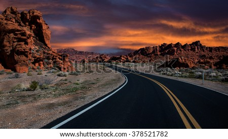 Valley of Fire, Nevada State's one of the oldest national parks, fifty miles from Las Vegas city, US.  - stock photo