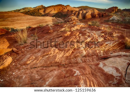 Valley of Fire State Park is the oldest state park in Nevada, USA which  derives its name from red sandstone formations.