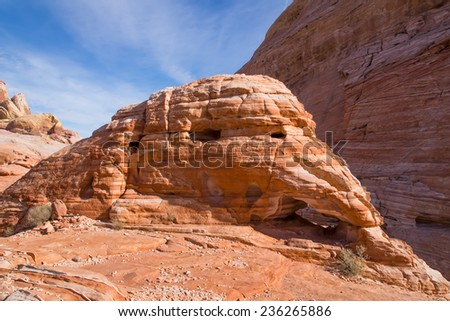 Valley of Fire State Park near Las Vegas, Nevada. Erosion layered sandstone  - stock photo