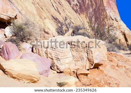 Valley of Fire State Park (Nevada). Stones interesting colors and textures - stock photo