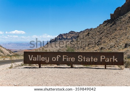 Valley of Fire State Park Sign, south Nevada, USA