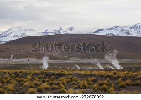 Valley of Geysers of El Tatio field located in Atacama Desert, Chile - stock photo