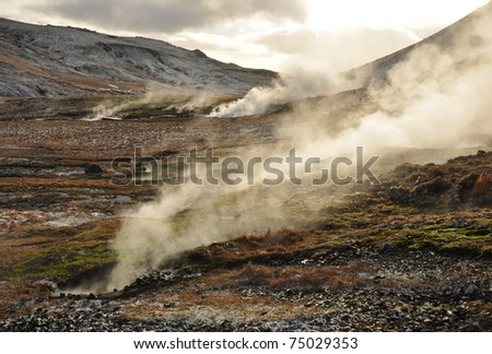 Valley of small geysers, Hveragerdi, Iceland