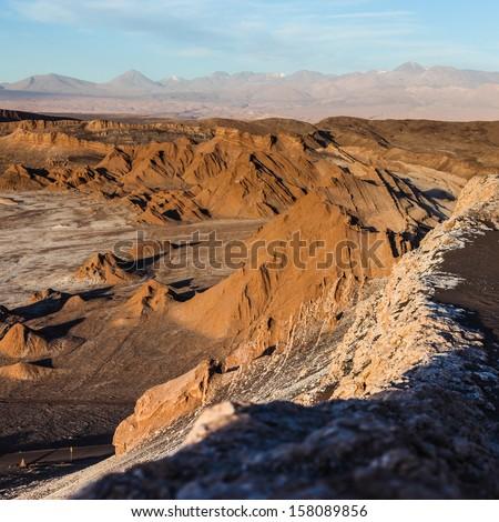 Valley of the moon near san pedro de atacama in Chile - stock photo