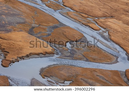 Valley of the mountain river , view from above. 