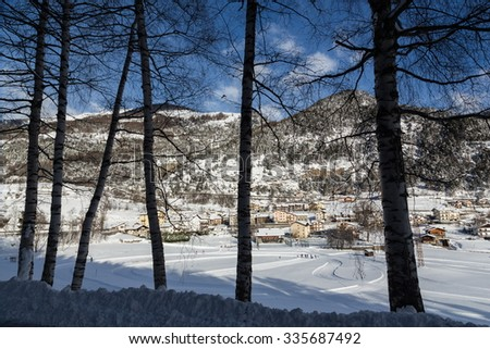 valley view in winter time - stock photo