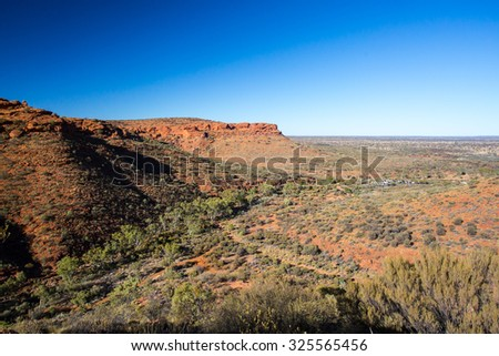 Valley view towards a car park at Kings Canyon in Northern Territory, Australia