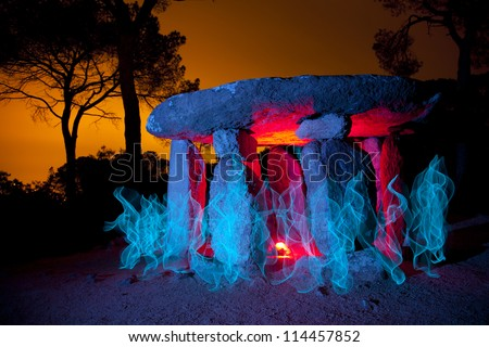 Vallgorguina Dolmen is a monument that has about 4,000 years old - stock photo