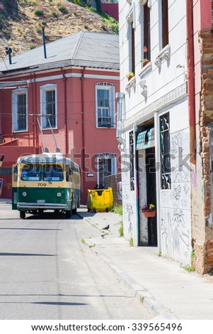 VALPARAISO - NOVEMBER 07: Iconic old trolleybus introduced from 1950's in the districts of the protected UNESCO World Heritage Site of Valparaiso on November 7, 2015 in Valparaiso, Chile - stock photo