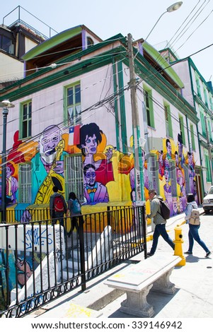 VALPARAISO - NOVEMBER 07: Street art in different districts of the protected UNESCO World Heritage Site of Valparaiso on November 7, 2015 in Valparaiso, Chile - stock photo
