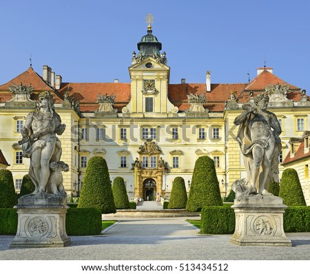 VALTICE, CZECH REPUBLIC -AUGUST 8, 2014: Courtyard of Chateau Valtice, Lednice-Valtice Cultural Landscape is World Heritage Site UNESCO, one of the most impressive baroque residences of Central Europe