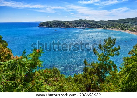 Valtos Beach, one of the longest beaches of Parga in Greece.  - stock photo