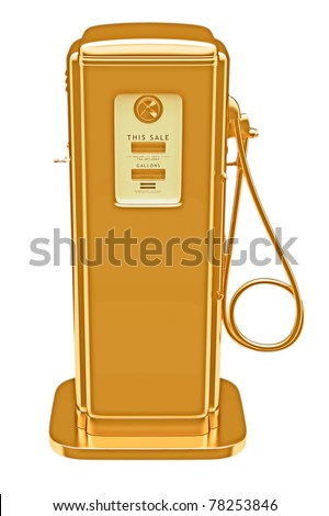 Valuable fuel: golden gas pump isolated on white. Large resolution - stock photo