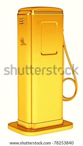 Valuable fuel: golden petrol pump isolated on white. Large resolution - stock photo