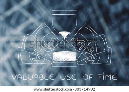 valuable use of time: hourglass surrounded by cash