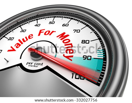 Value for money hundred per cent conceptual meter, isolated on white background - stock photo