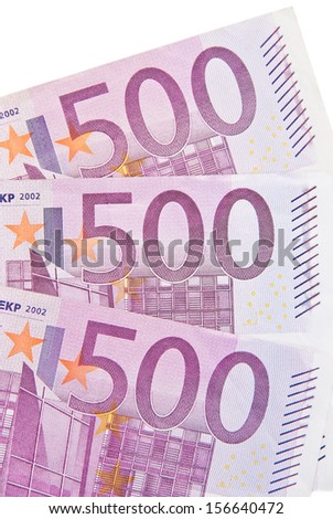 Value of 500 euro banknotes on a white background.