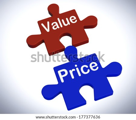 Value Price Puzzle Showing Worth And Cost Of Product - stock photo