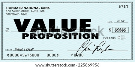 Value Proposiiton words on a check to illustrate benefits of buying products or services in a special savings offer from a business or company - stock photo