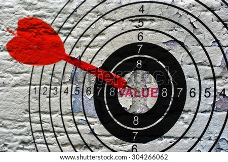 Value target grunge concept - stock photo