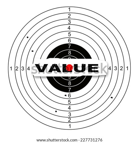 Value target made in 2d software - stock photo