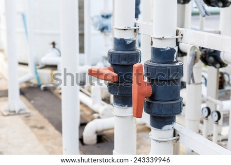 Valve for DI water control in factory  - stock photo